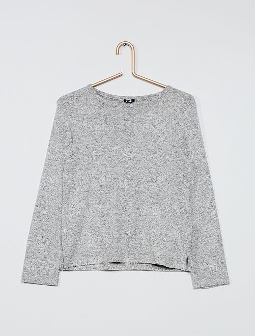 Pull maille doudou                                             gris clair