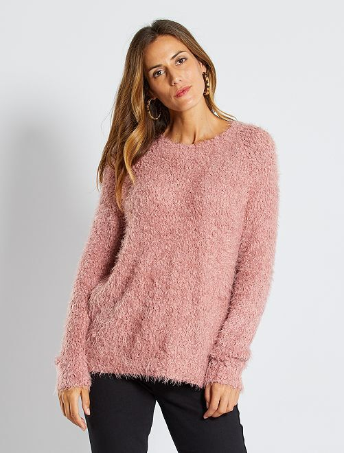 Pull maille doudou popcorn                                                                 rose