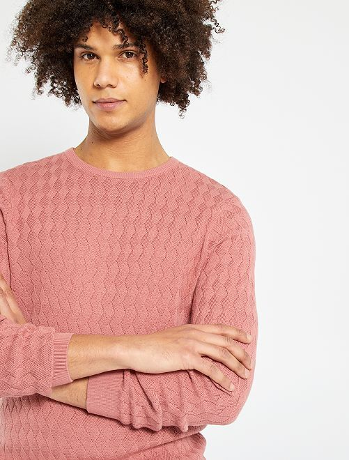 Pull maille entrelacée                                                     rose