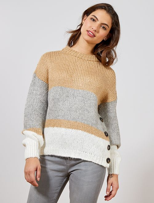 Pull maille épaisse boutons fantaisie                             rayure Femme