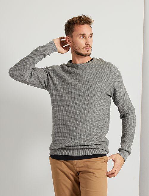 Pull maille fantaisie éco-conçu +1m90                                                     gris