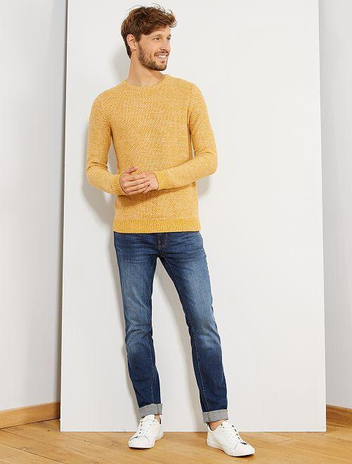 Pull maille moulinée 'éco-conception'                                                     jaune Homme