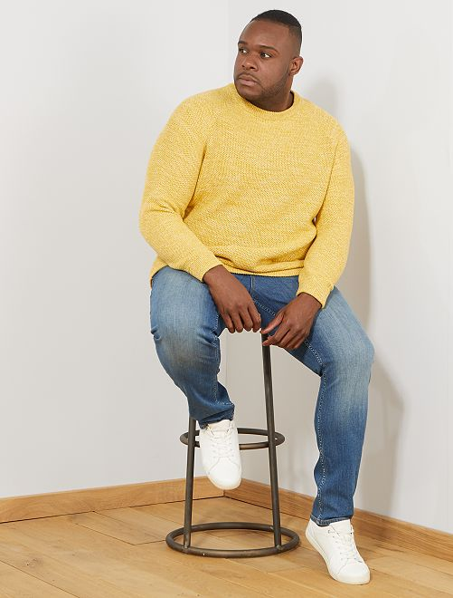 Pull maille moulinée                                                     jaune Grande taille homme