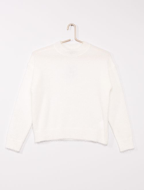 Pull maille poilue                                         blanc