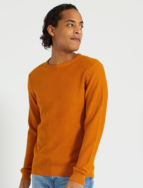 Pull maille texturée                             marron