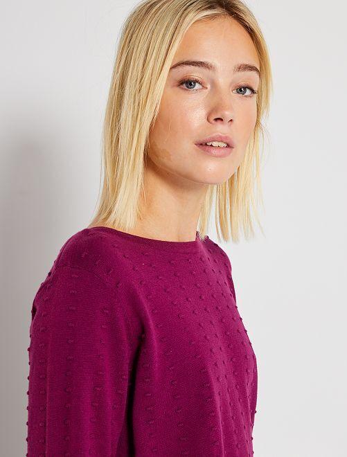 Pull maille texturée                                                                 violet