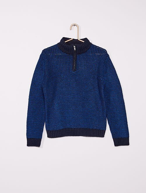 Pull maille tricot                             bleu