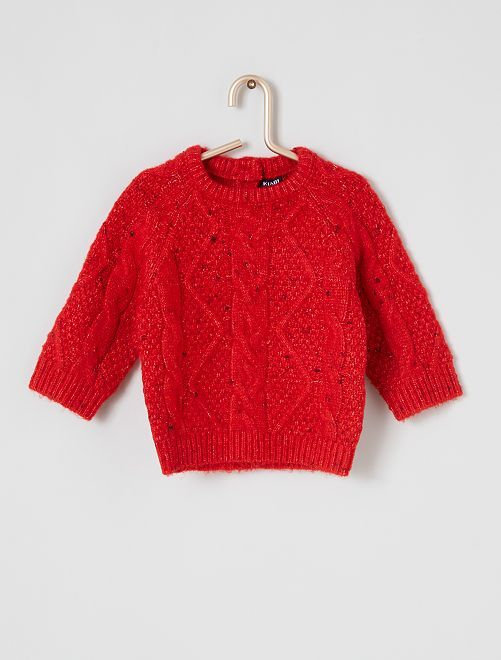 Pull maille tricot                                         rouge