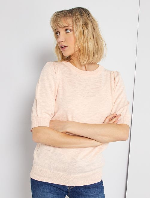Pull manches bouffantes                                                     rose clair