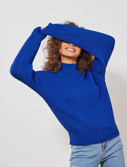 Pull manches larges chauves-souris                                                                 bleu Femme