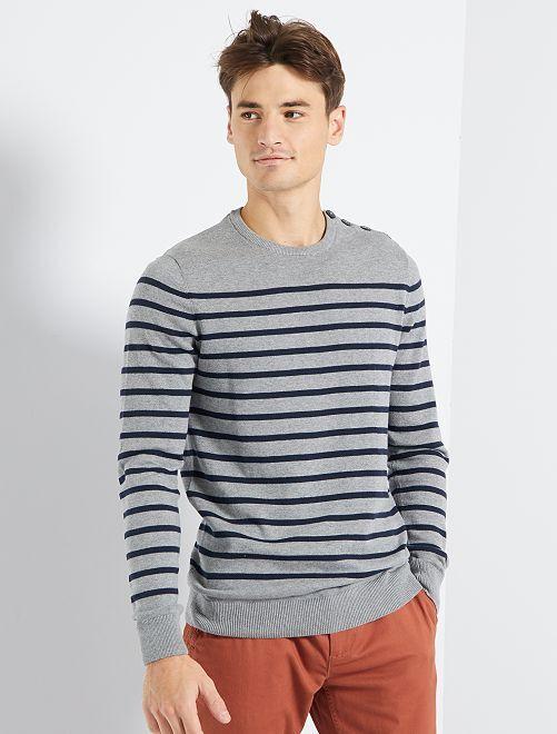 Pull marinière éco-conçu                                                     gris