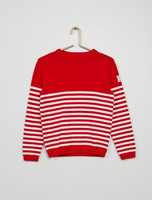 Pull marinière 'La Manufacture de Layette'                                         rouge
