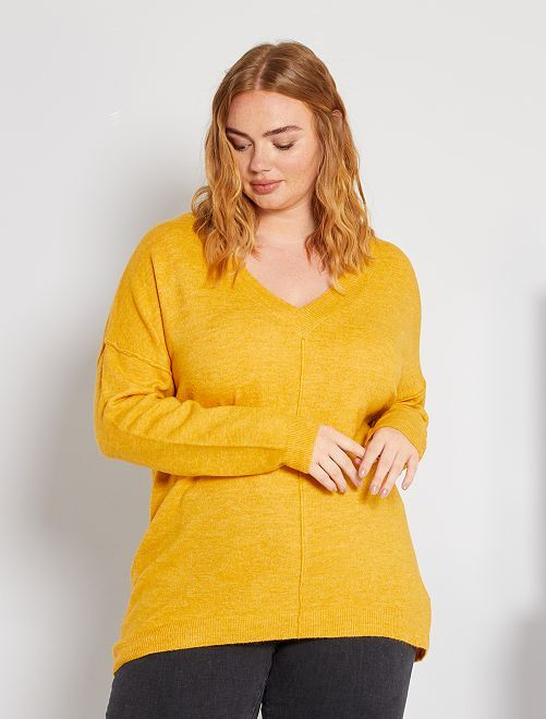 Pull matière duveteuse                                                                     jaune
