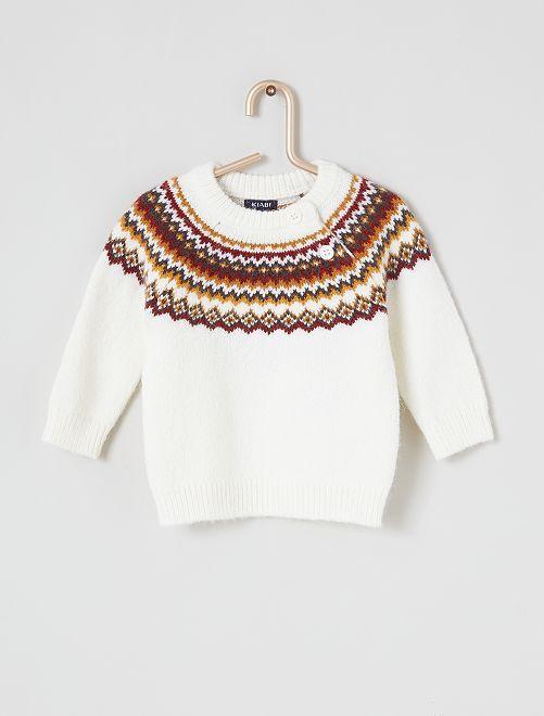 Pull motif jacquard                             blanc