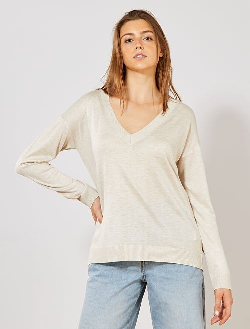 Pull oversize col V                                                                                                                                                                                                                                 beige chiné