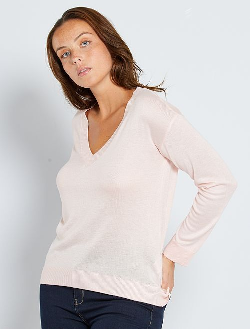 Pull oversize col V                                                                                                                                                                                                                             rose clair
