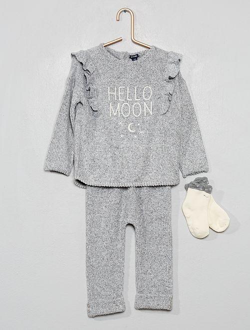 Pull + pantalon + chaussettes                                         gris