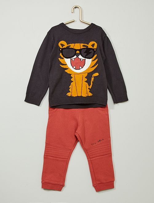 Pull + pantalon molleton                                         gris/tigre