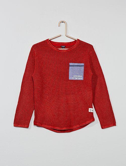 Pull poche chambray                                                     rouge Garçon