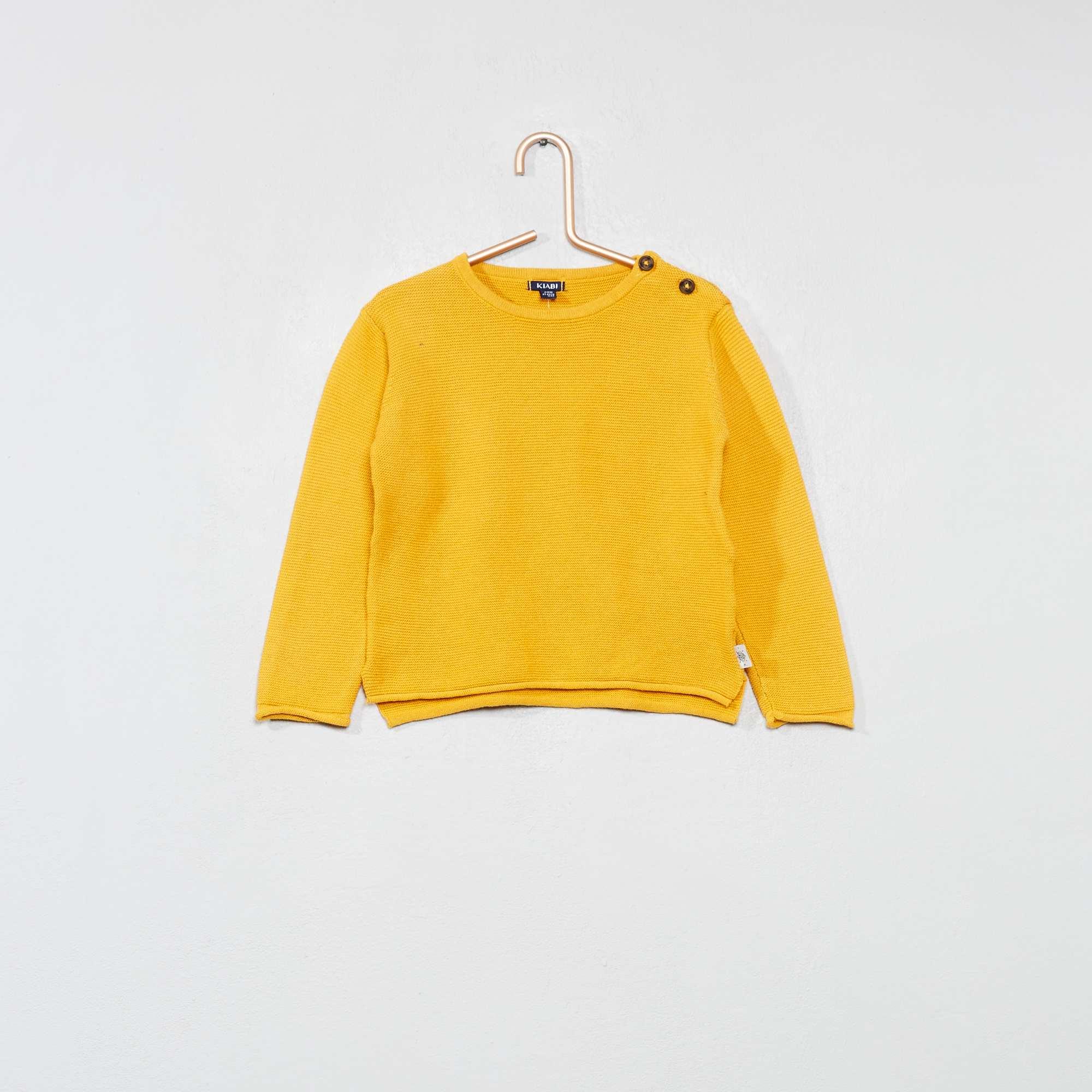 huge selection of 56cf9 78c95 Pull point mousse pur coton jaune Bébé garçon. Loading zoom