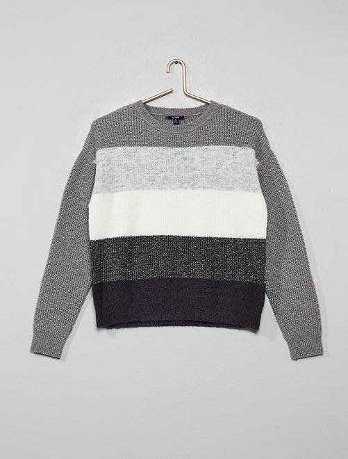 Pull rayé en maille                                                                                         GRIS