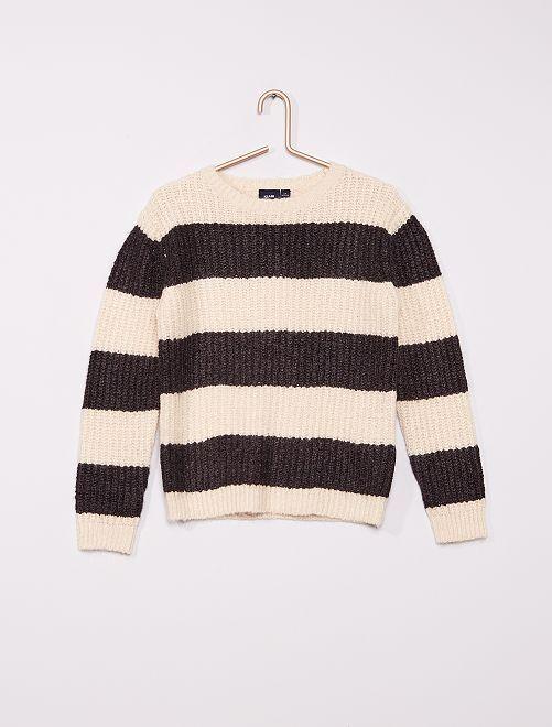 Pull rayé en maille tricot rayé                             gris/écru