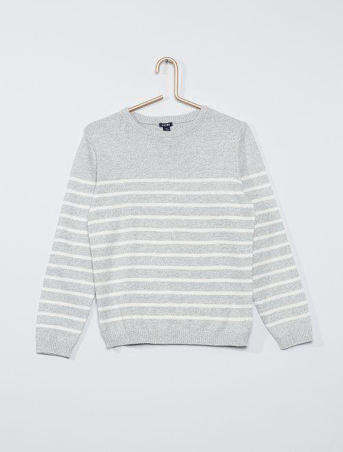 Pull rayé maille fine éco-conçu                                                                 gris chiné/blanc
