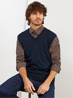 Pull, gilet - Pull sans manches col V fine maille