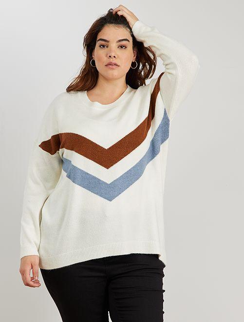 Pull tricolore                                         blanc