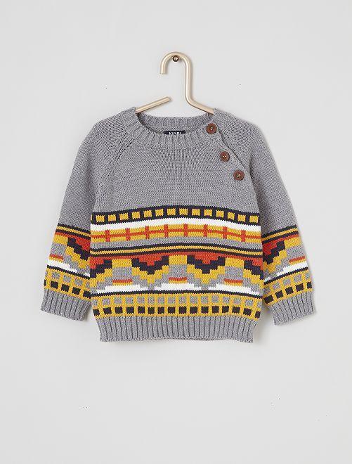 Pull tricot imprimé                                         gris