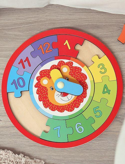 Puzzle horloge en bois                             multicolore