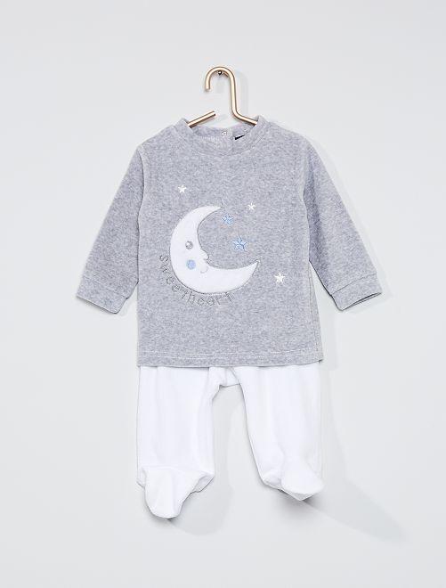 Pyjama 2 pièces en velours                             blanc/gris