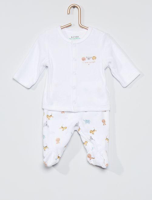 Pyjama 2 pièces en velours éco-conçu                                                                 blanc