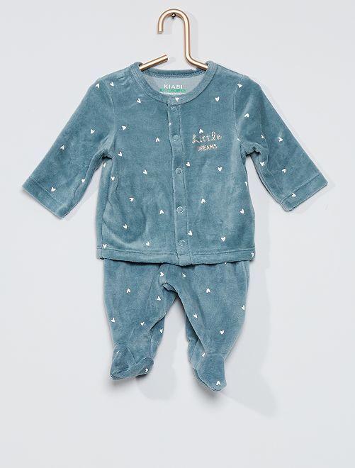 Pyjama 2 pièces en velours éco-conçu                                                                 bleu gris