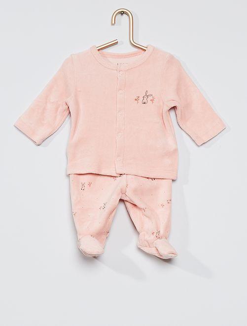 Pyjama 2 pièces en velours éco-conçu                                                                 rose