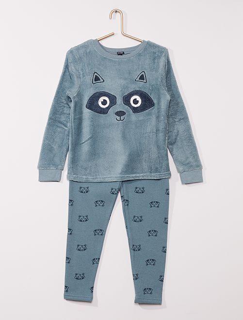 Pyjama 2 pièces haut en polaire                                         bleu