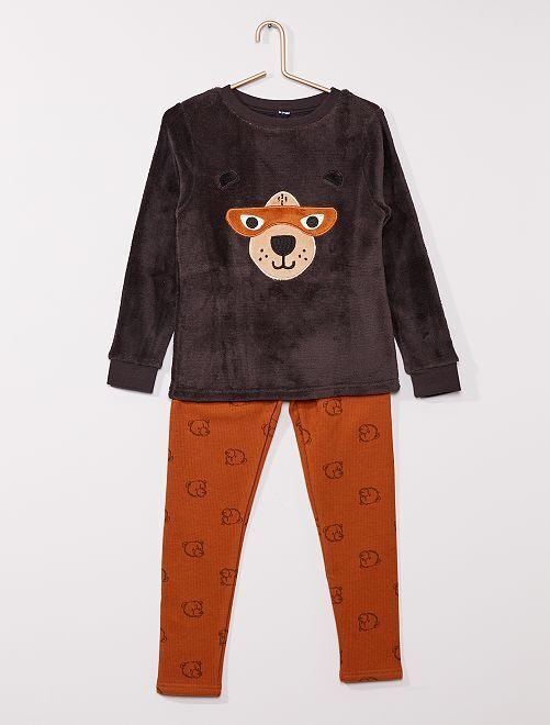 Pyjama 2 pièces haut en polaire                                         marron/orange