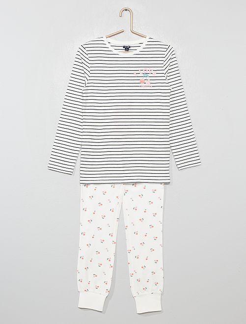 Pyjama 2 pièces imprimé 'cerises'                                         blanc rayé
