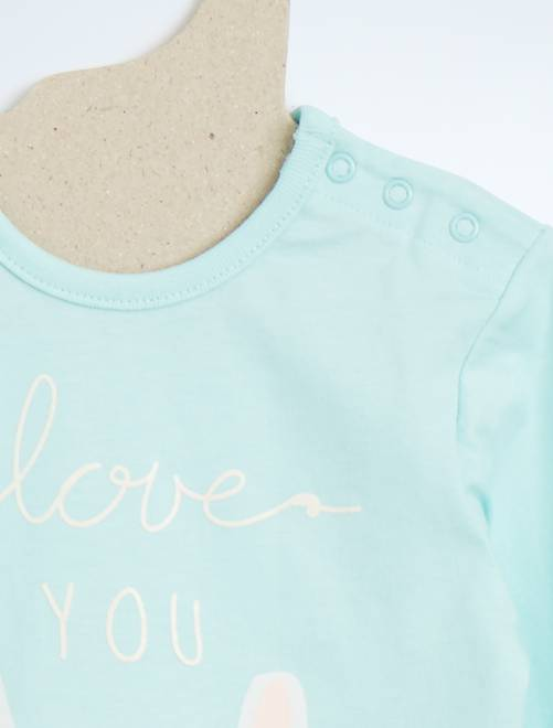 pyjama 2 pi ces imprim lapin b b fille turquoise. Black Bedroom Furniture Sets. Home Design Ideas