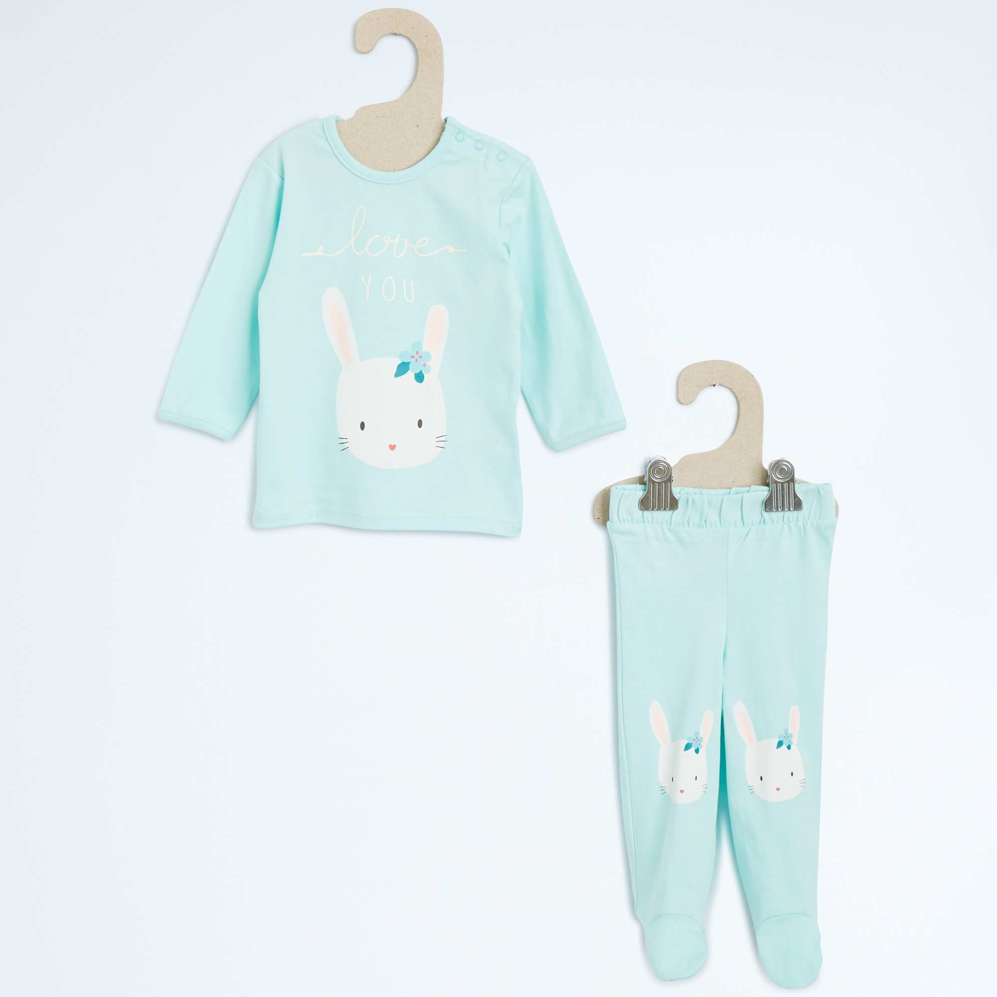 pyjama 2 pi ces imprim lapin b b fille kiabi 10 00. Black Bedroom Furniture Sets. Home Design Ideas