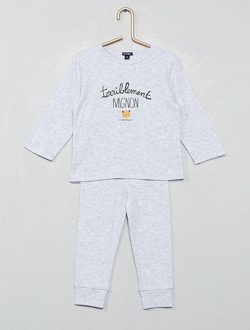 Pyjama 2 pièces messages                                         gris