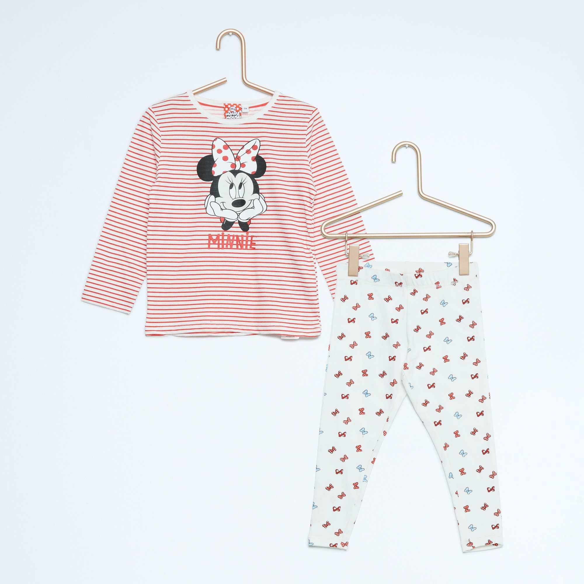 pyjama 2 pi ces 39 minnie 39 fille cru rouge kiabi 8 00. Black Bedroom Furniture Sets. Home Design Ideas