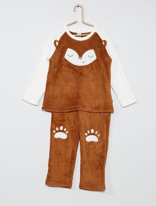 Pyjama 2 pièces 'renard'                                         écru/marron