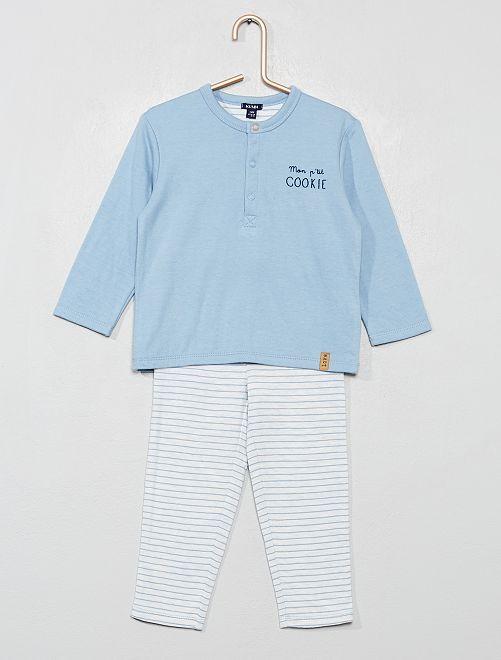 Pyjama 2 pièces réversible                             bleu
