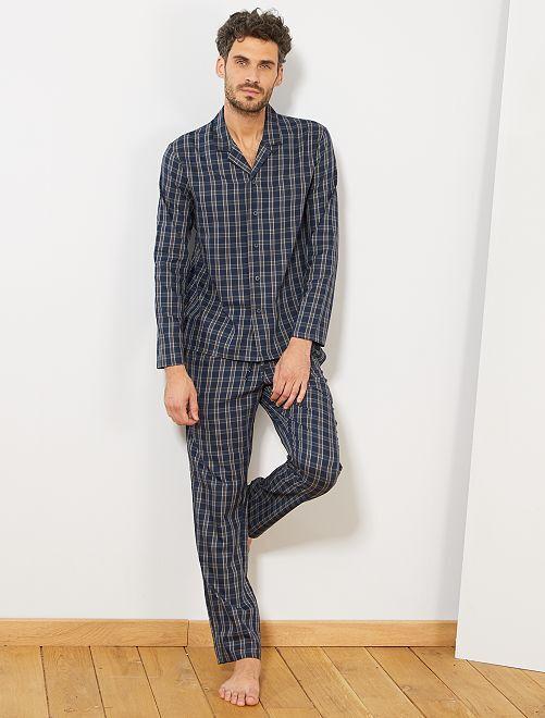 Pyjama à carreaux                             bleu/gris