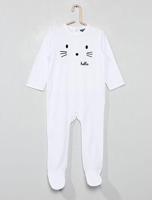 Pyjama avec pieds                                                                             blanc/hello Bébé garçon