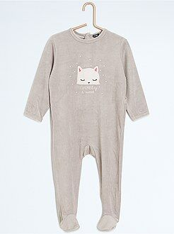 Fille 0-36 mois Pyjama avec pieds imprimé 'chat'