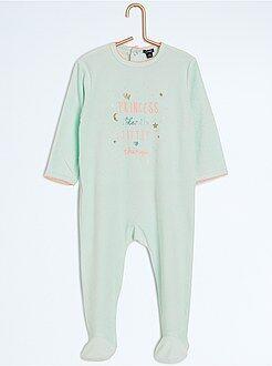 Fille 0-36 mois Pyjama avec pieds imprimé message