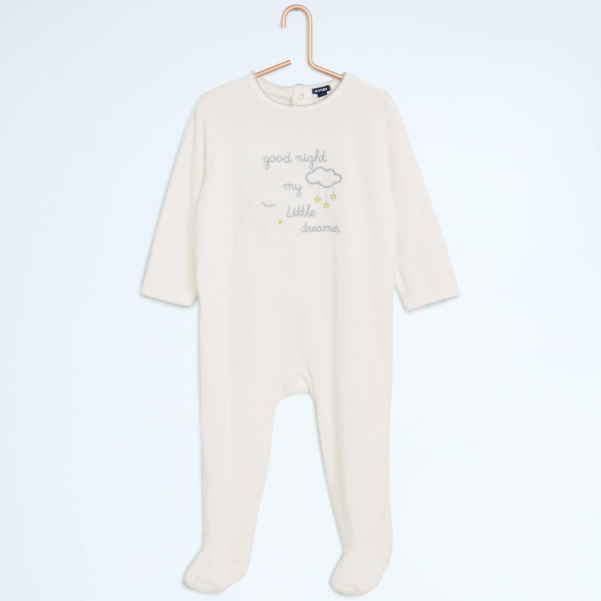pyjama avec pieds imprim 39 nuit 39 b b fille cru kiabi. Black Bedroom Furniture Sets. Home Design Ideas