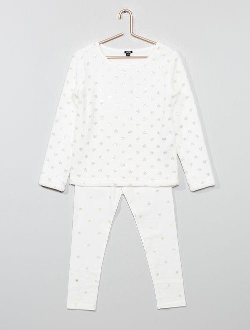 Pyjama bi-matière                             blanc Fille